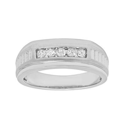 Mens 1/4 CT. T.W. Diamond 10K White Gold 5-Stone Ring