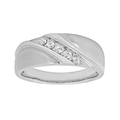 Mens 1/4 CT. T.W. 10K White Gold 5-Stone Wedding Band