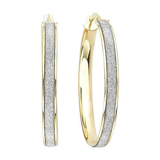 14K Gold Glitter Hoop Earrings