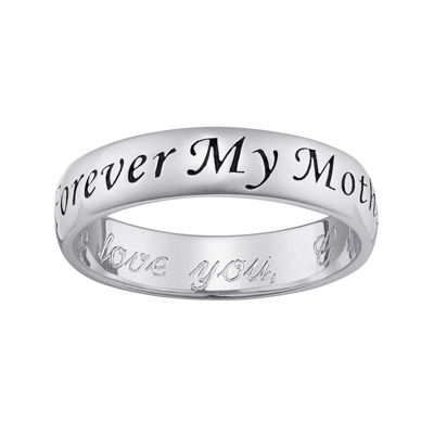"Personalized Sterling Silver ""Forever My Mother"" with Engraved Message Ring"