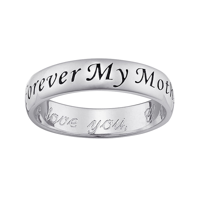 """Personalized Sterling Silver """"Forever My Mother"""" with Engraved Message Ring"""