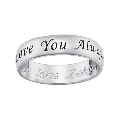 "Personalized Sterling Silver ""Love You Always"" with Engraved Message Ring"