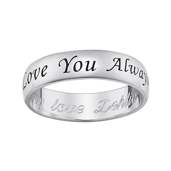 """Personalized Sterling Silver """"Love You Always"""" with Engraved Message Ring"""