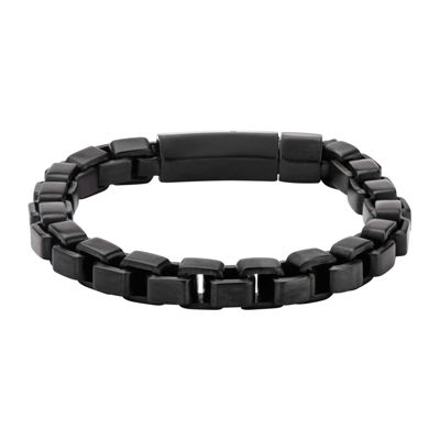 Mens Black Stainless Steel Link Bracelet