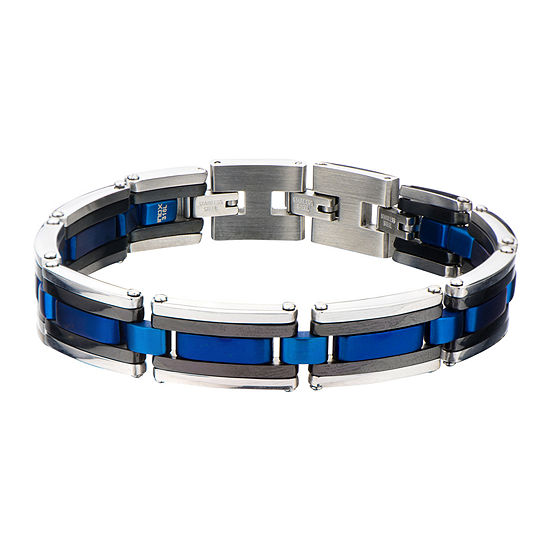 Mens Tri-Tone Stainless Steel Bracelet