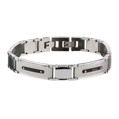 Mens Black and Silver-Tone Stainless Steel Bracelet
