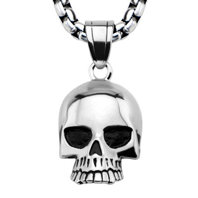 Mens Silver-Tone Black Oxidized Stainless Steel Skull Pendant Necklace