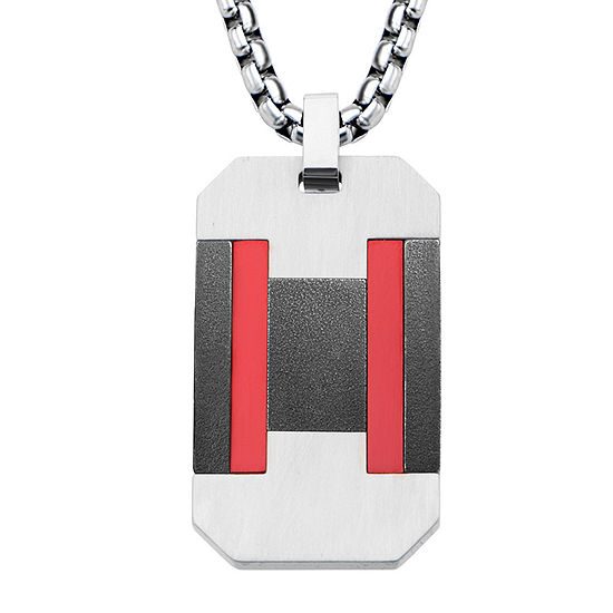 Mens Tri-Tone Stainless Steel Dog Tag Pendant Necklace