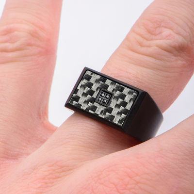 Mens Color-Enhanced Black Diamond-Accent Stainless Steel Ring