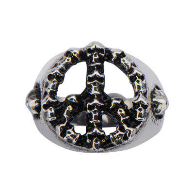 Mens Black Oxidized Stainless Steel Peace Sign Skull Ring