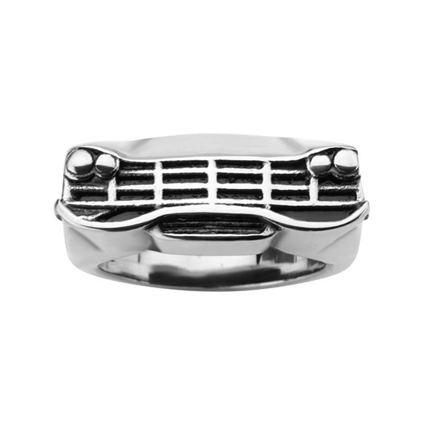 Mens Black Oxidized Stainless Steel Car Grille Ring