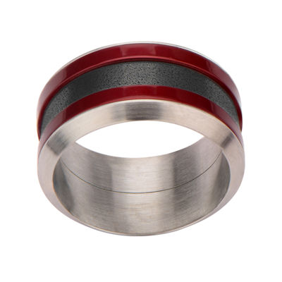 Mens Tri-Tone Stainless Steel Band Ring
