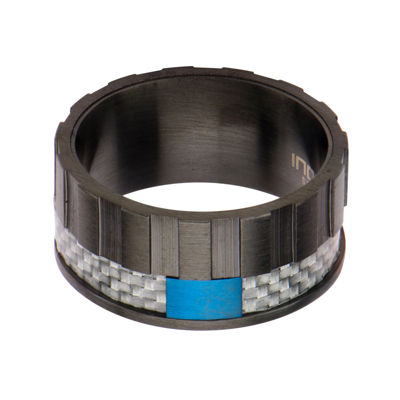 Mens Black and Blue Stainless Steel and Carbon Fiber Wedding Band