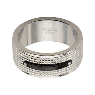 Mens Silver-Tone and Black Stainless Steel Wedding Band