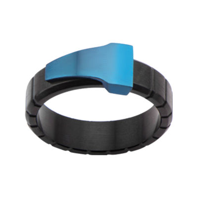 Mens Blue and Black Stainless Steel Band Ring