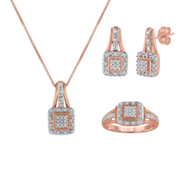 jcpenney.com | 1/10 CT. T.W. Diamond 14K Rose Gold Over Silver Pendant Necklace, Earrings, or Ring