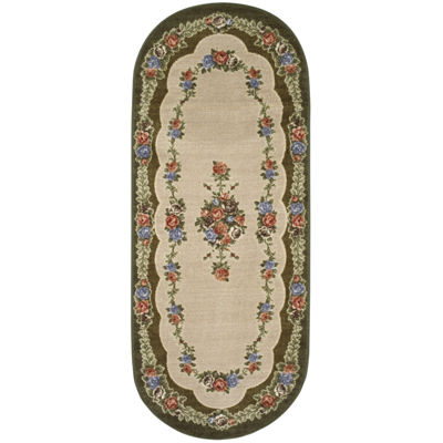 Rosewood Washable Oval Runner Rug