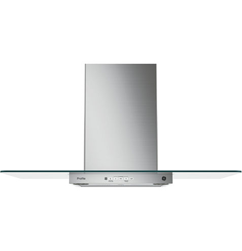 "GE Profile™  36"" Wall-Mount Chimney Range Hood With Glass Canopy"