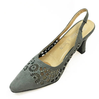 Whittall & Shon Womens Lazer Cut Pumps Soft Toe Cone Heel