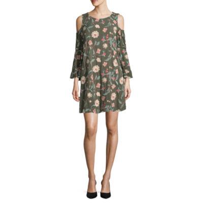 Luxology Cold Shoulder Bell Sleeve Embroidered Floral Dress