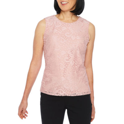 Black Label by Evan-Picone Sleeveless Lace Floral Blouse
