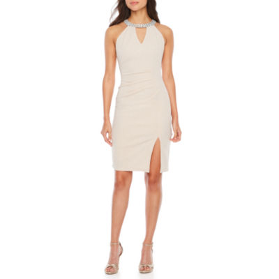 Blu Sage Sleeveless Embellished Sheath Dress