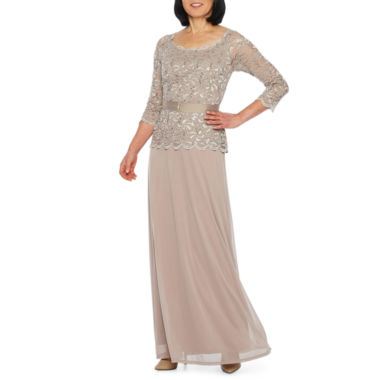 Blu Sage 3/4 Sleeve Belted Evening Gown