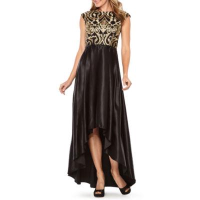 Jackie Jon Short Sleeve Embellished Evening Gown