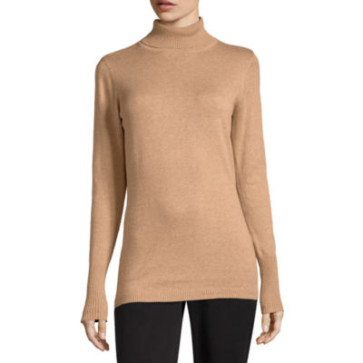Worthington Long Sleeve Turtleneck Pullover Sweater-Talls