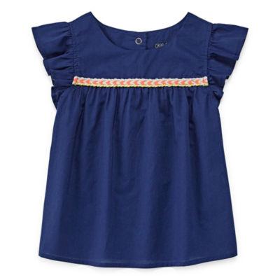Okie Dokie Flutter Sleeve Blouse - Toddler Girls