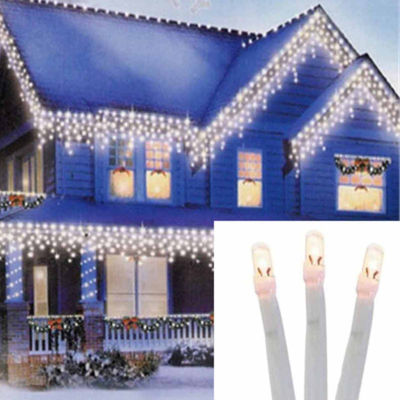 Set of 96 Twinkling Warm White LED Christmas Icicle Lights - Connect 24V Extension Set - White Wire