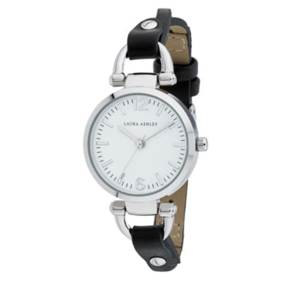 Laura Ashley Womens Black Strap Watch-La31032ssw