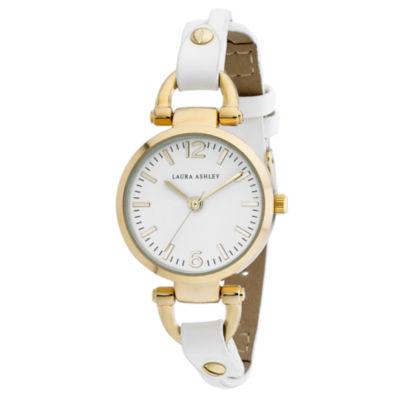 Laura Ashley Womens White Strap Watch-La31032ygw