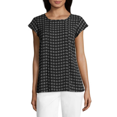Liz Claiborne Short Sleeve Crew Neck Woven Blouse - Tall
