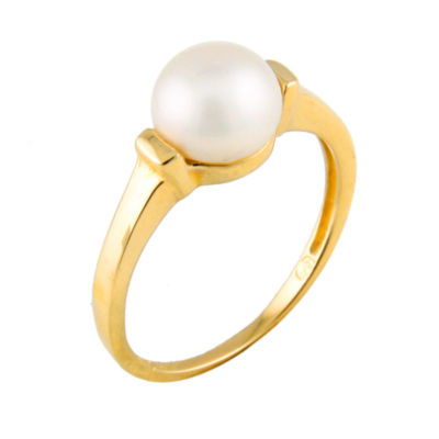 Womens 7MM Cultured Akoya Pearl 14K Gold Cocktail Ring