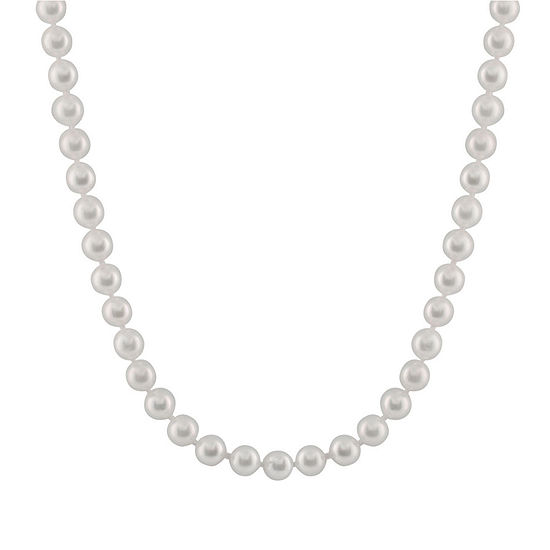Womens 6MM Cultured Akoya Pearl 14K Gold Strand Necklace