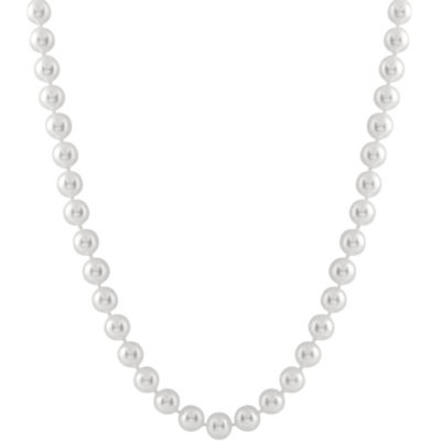 Womens 7MM Cultured Akoya Pearl 14K Gold Strand Necklace
