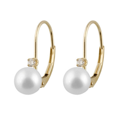 Diamond Accent Cultured Akoya Pearl 14K Gold Round Drop Earrings