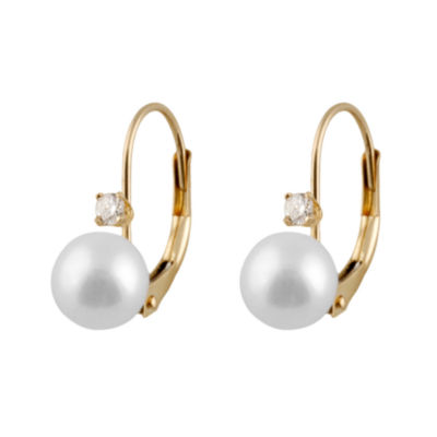 1/10 CT. T.W. CULTURED AKOYA PEARLS 14K Gold Round Drop Earrings