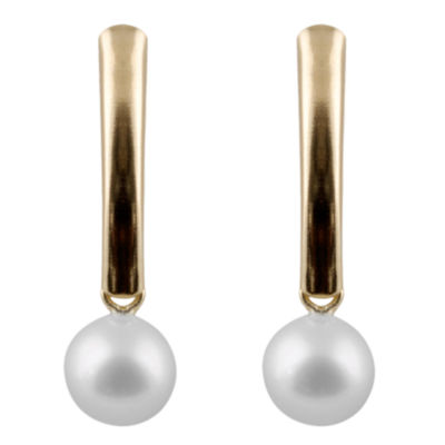 Cultured Akoya Pearl 14K Gold Drop Earrings