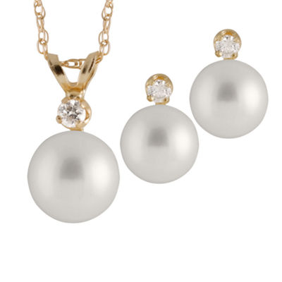 1/7 CT. T.W. Cultured Akoya Pearl 14K Gold Round 2-pc. Jewelry Set