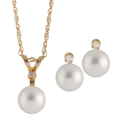 Womens 2-pc. Pearl 14K Gold Jewelry Set