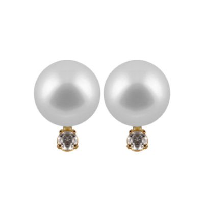 Diamond Accent Pearl 14K Gold 7mm Round Stud Earrings