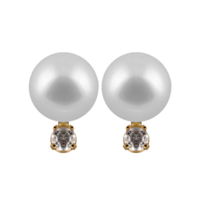 1/10 CT. T.W. Cultured Akoya Pearl 14K Gold 10mm Round Stud Earrings