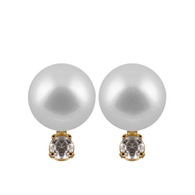 Cultured Akoya Pearl 14K Gold 10mm Round Stud Earrings