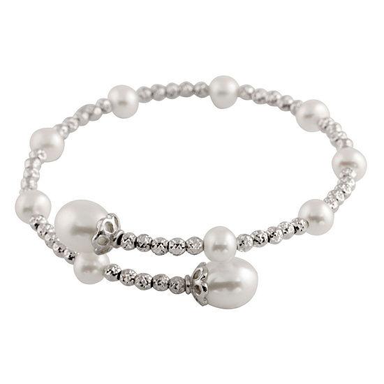 Splendid Pearls Cultured Freshwater Pearl Sterling Silver Bangle Bracelet