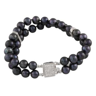 Splendid Pearls Black Cultured Freshwater Pearl Sterling Silver Round Beaded Bracelet
