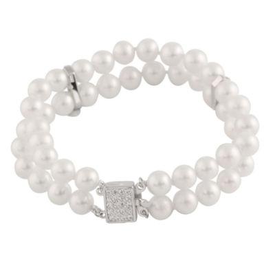 Splendid Pearls Womens Pearl Sterling Silver Beaded Bracelet