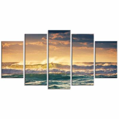 Design Art Sunrise And Shining Waves In Ocean Seascape Canvas Art Print - 5 Panels