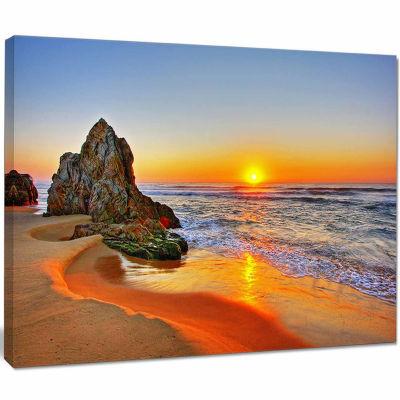 Design Art Beautiful Sunrise By Beach In Tathra Seashore Canvas Art Print
